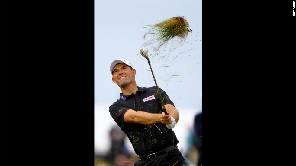 Padraig Harrington of Ireland hits a shot from the rough on the sixth hole Thursday.