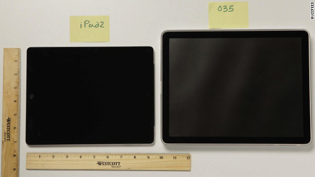 Apple's early tablet prototype, right, was larger than the company's eventual iPads. That's an iPad 2 on the left.