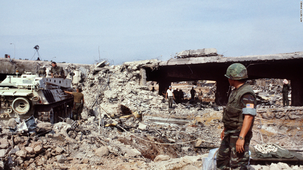 U.S. marines searching for victims in Beirut eight days after an attack that killed 241 American soldiers on October 23, 1983.