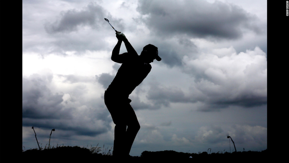 Luke Donald of England hits his tee shot on the 11th hole during the second round on Friday.