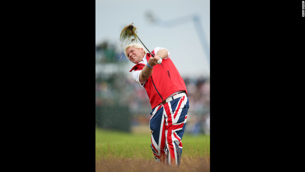 John Daly of the United States hits a shot from the rough on the 18th hole during the second round Friday.