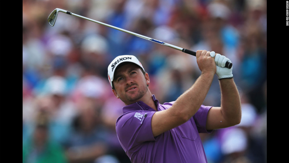 Graeme McDowell tees off on the fifth hole.