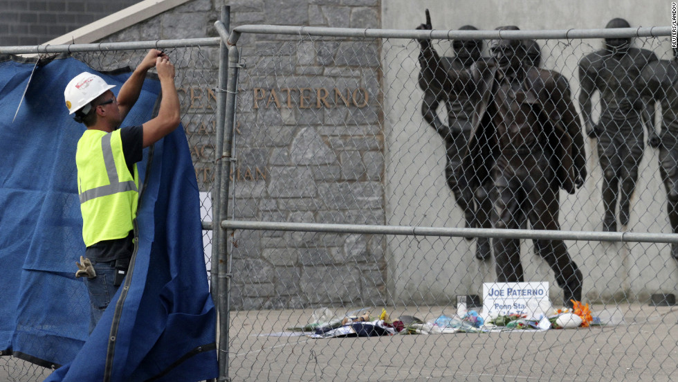 "The 900-pound bronze statue will be stored in a ""secure location"" in the wake of the Jerry Sandusky scandal, university President Rodney Erickson said."