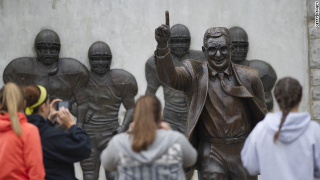 A  Joe Paterno statue has been removed. A lawsuit by the school's insurer is the latest fallout from the Sandusky case.