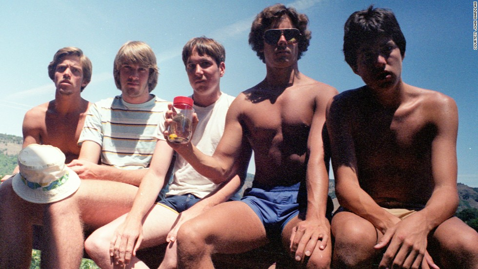 Five teenagers posed for a photo at Copco Lake in 1982 that started a tradition spanning 30 years. The men plan to keep posing for the photo every five years until they die. From left to right: John Wardlaw, Mark Rumer, Dallas Burney, John Molony and John Dickson.