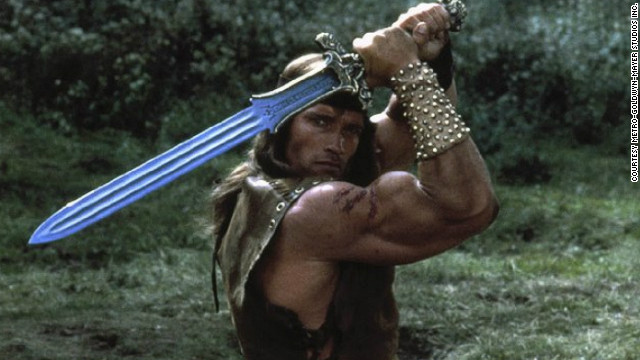 "Arnold Schwarzenegger in ""Conan the Destroyer"" -- a true hero."