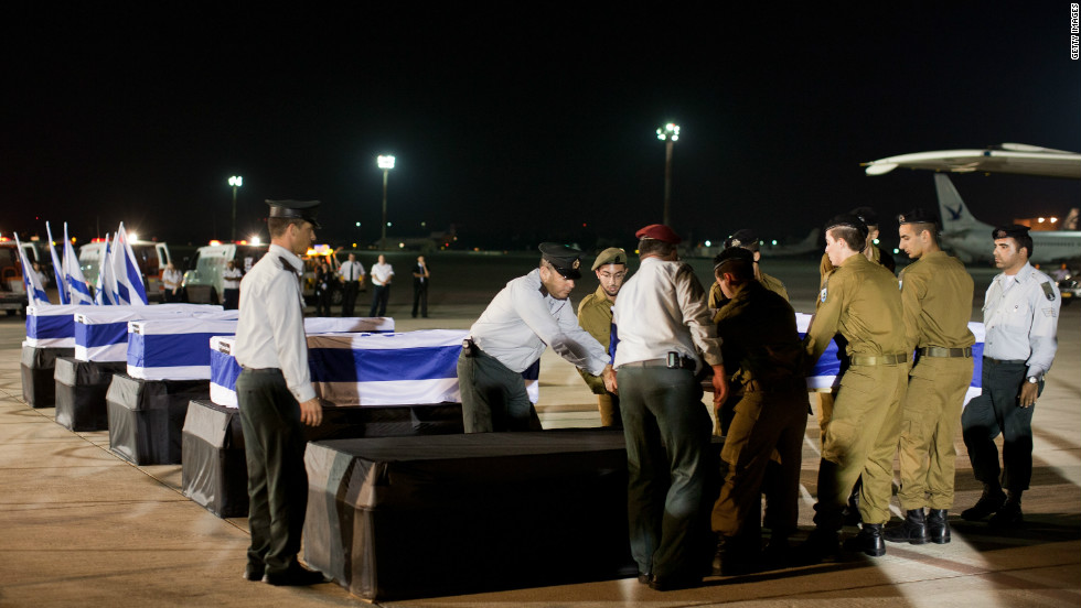 The bodies of Israeli victims of the Bulgaria bus bomb last week return home.