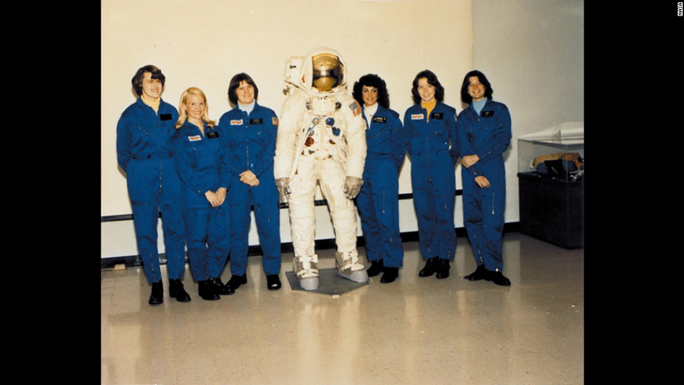 Ride joined NASA as part of the class of 1978, the first to include women. From left are Shannon Lucid, Margaret Rhea Seddon, Kathryn D. Sullivan, Judith Resnik, Fisher and Ride in August 1979.