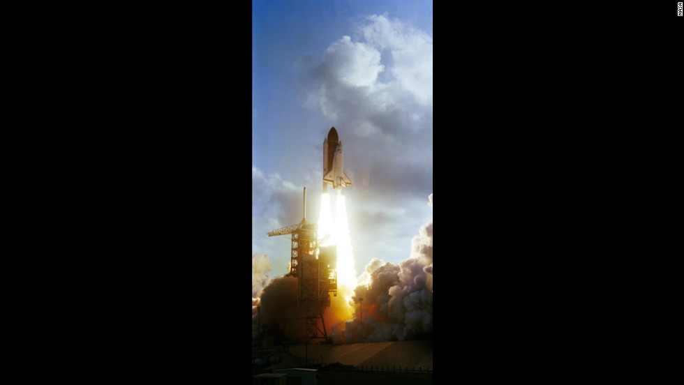 The space shuttle Challenger lifts off on June 18, 1983.