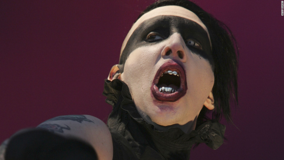 Shock rocker Marilyn Manson takes on gender roles, sexuality and religion in his performances. His group's members got their names from sex symbols and serial killers.