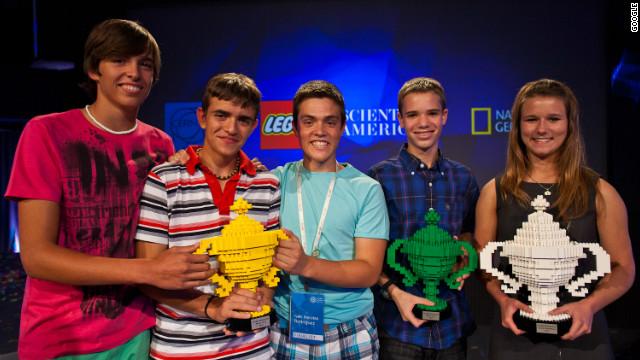 Google Science Fair winners Iván Hervías Rodríguez, Marcos Ochoa and Sergio Pascual; Jonah Kohn; and Brittany Wenger.
