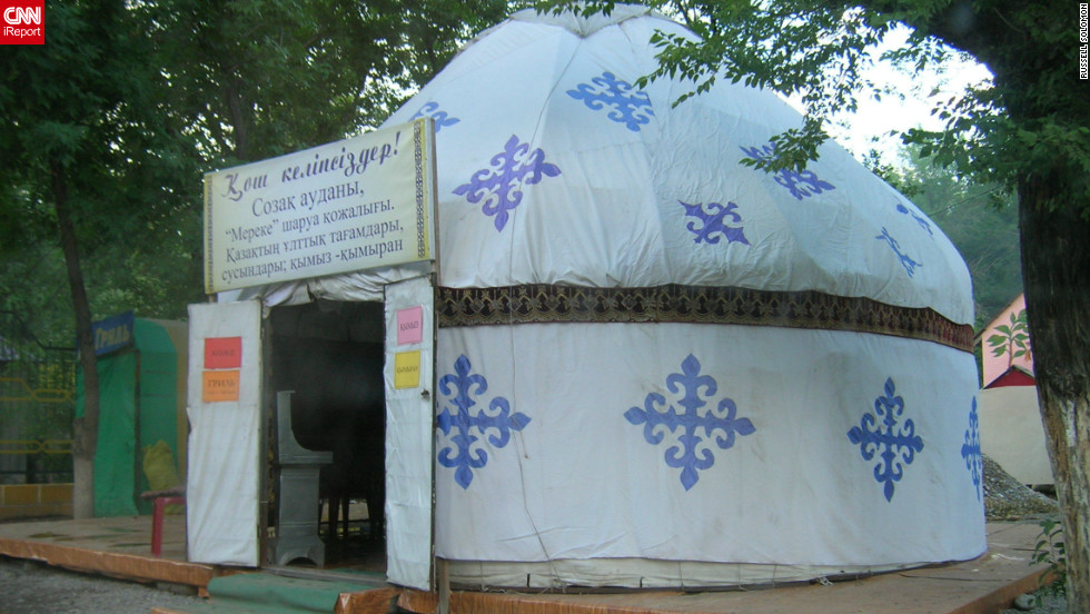 A more traditional example of a Kazakh tent (or yurt as they are locally known) was captured by Russell Solomon when he visited the cities of Shymkent and Turkestan in 2006.