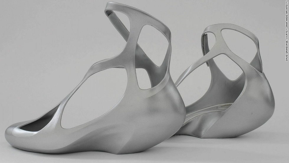 As well as buildings, Hadid has designed a Louis Vuitton handbag, a tea and coffee set and vase for Alessi, furniture and lighting, and these plastic shoes for Brazilian footwear brand Melissa.