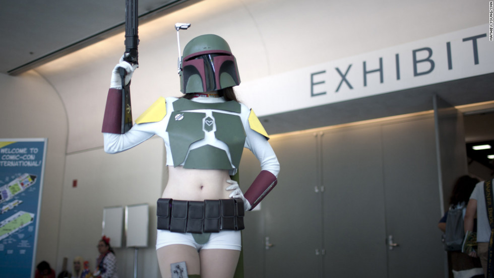 Who says a bounty hunter has to be a man? This lady Boba Fett is is armed and ready to take on any scruffy nerf herders at Comic-Con. She'd better watch out; we hear they shoot first.
