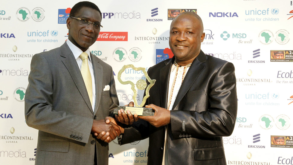 "Saturday vision's journalist, Gerald Tenywa wins the Environment Award for his piece, ""Concrete graves threaten environment."""