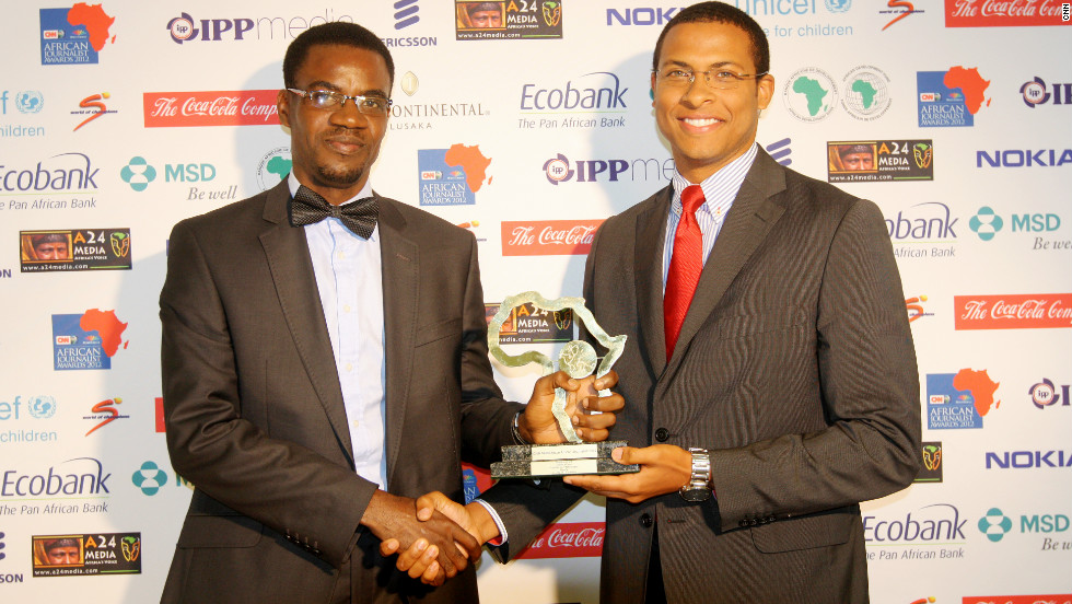 "For the piece, ""Bagadry: A walk through the slave route"", Errol Barnett gives the Tourism award to Ahaoma Kanu."