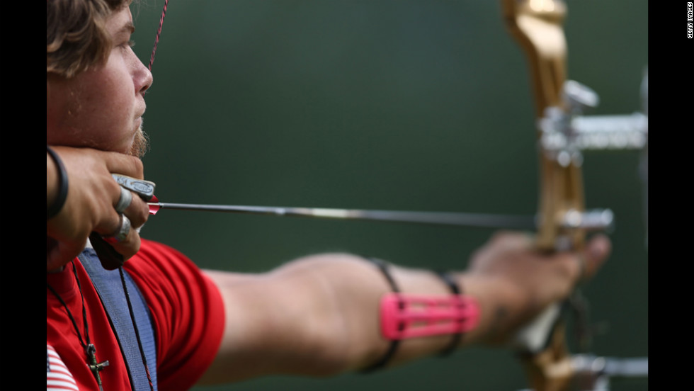 Brady Ellison of the United States prepares for the archery ranking round on Olympics opening day in London.