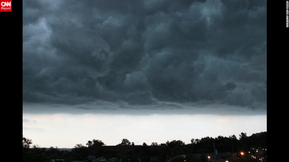 Ominous clouds hover over Nyack, a New York suburb, in another image from Girard.