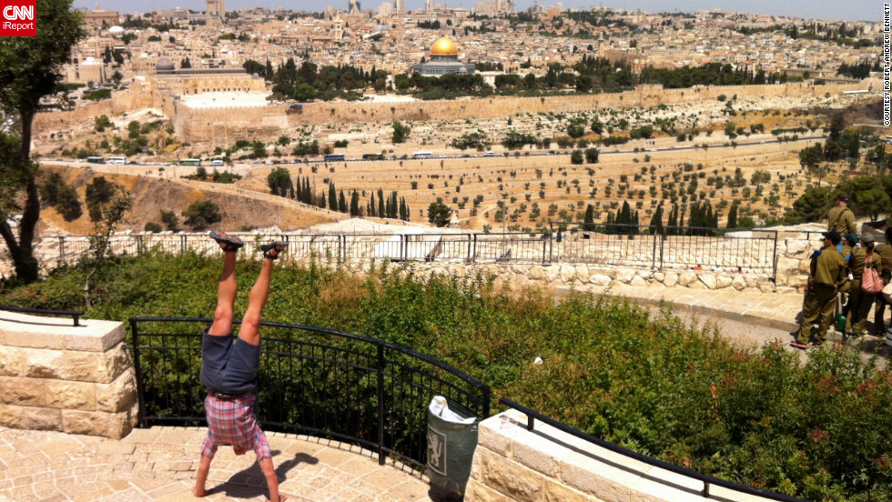 Bennett performs his ritual in front of Jerusalem's Dome of the Rock in 2012.
