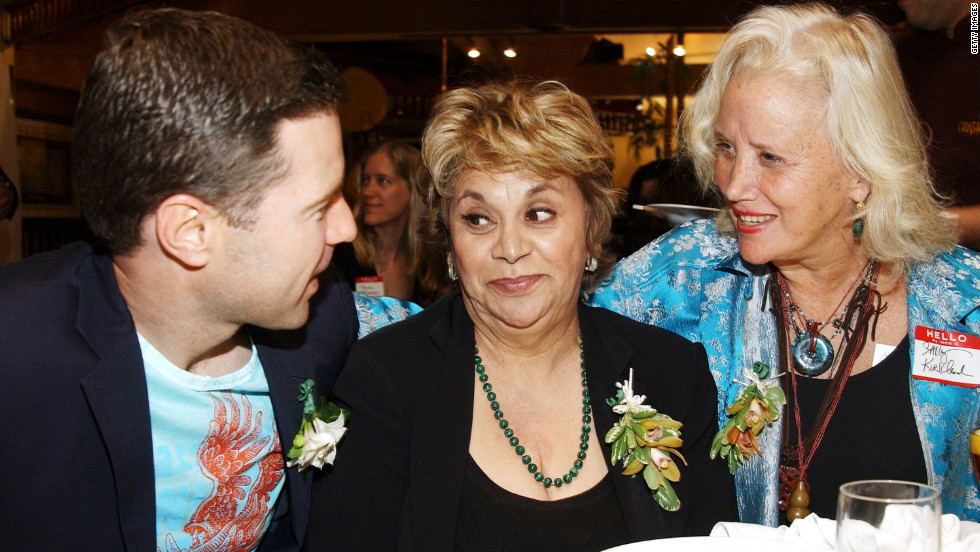 Cinematographer Dion Beebe chats with Ontiveros and Sally Kirkland at a pre-Oscar luncheon in 2003 in Beverly Hills.