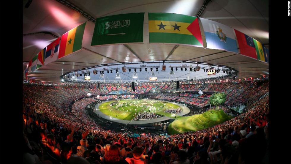 A general view of the inside of the stadium during the opening ceremony.