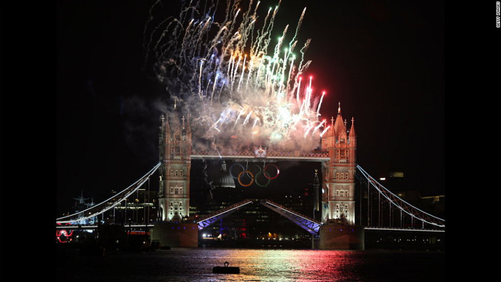Fireworks light up Tower Bridge.