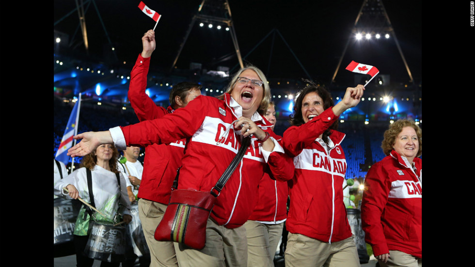 Canadian athletes enter the stadium.