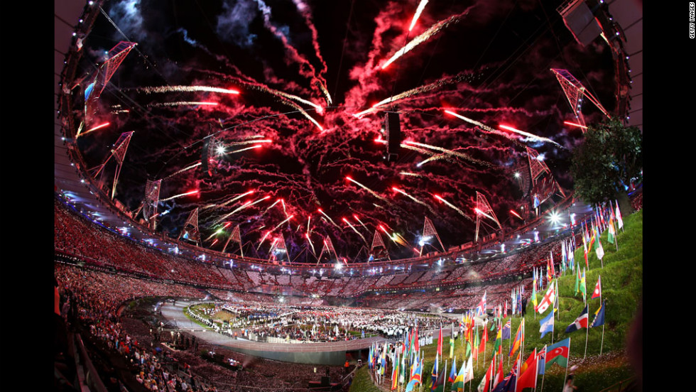 General view as fireworks illuminate the sky during the opening ceremony.