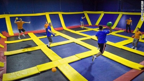 Trampoline parks often features wall-to-wall trampolines.