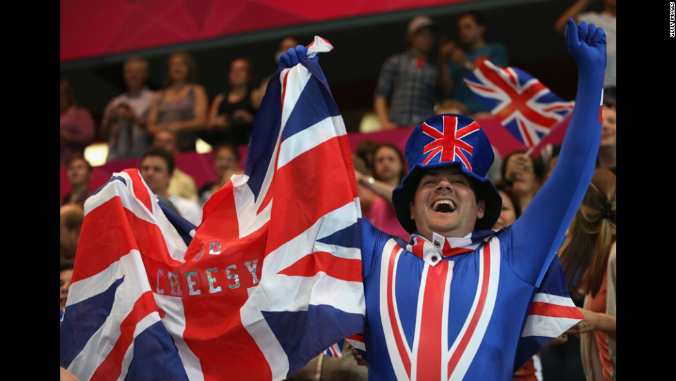 A British fan shows his support during a women's handball preliminary match between Montenegro and Great Britain.