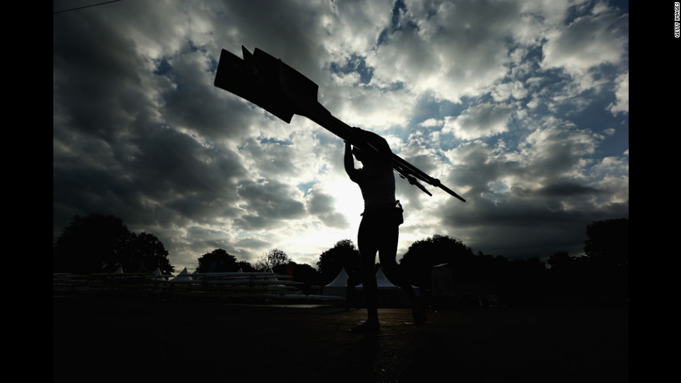 A rower prepares to compete at Eton Dorney near Windsor, England.