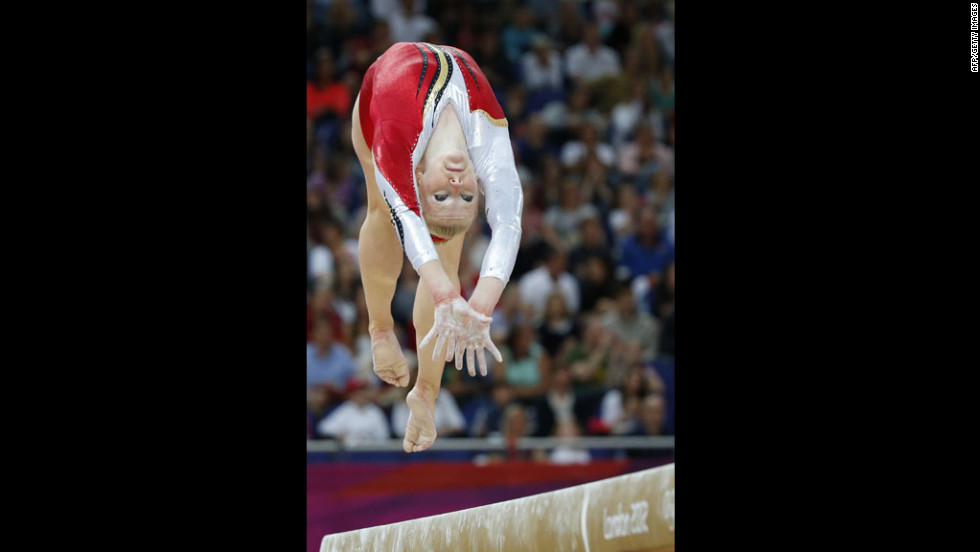 Gaelle Mys of Belgium performs on the beam during the women's qualification of the artistic gymnastics event.