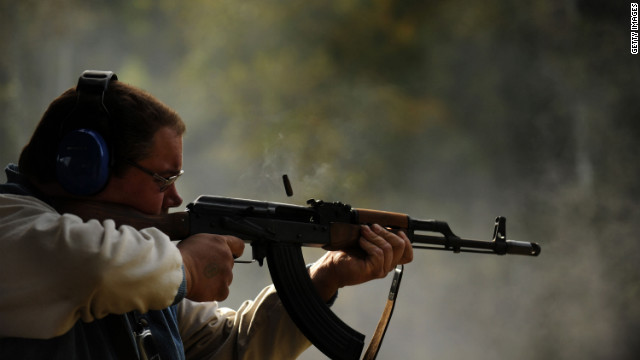 A man fires an AK-47 at a gun range in West Point, Kentucky. Roland Martin says private citizens don't need such weapons.