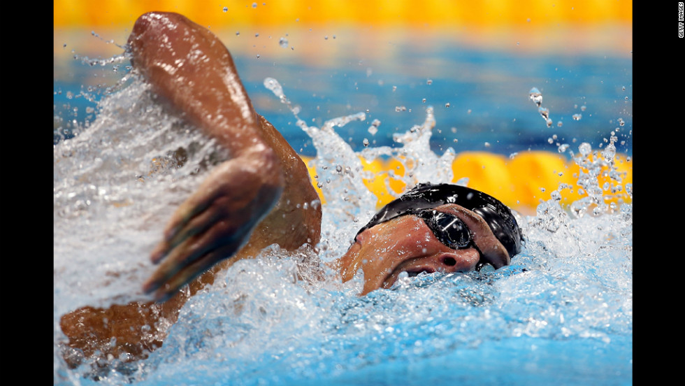 Ryan Lochte of the United States cuts through the water in the freestyle portion of the men's 400-meter individual medley finals on Saturday. Lochte won the gold medal.