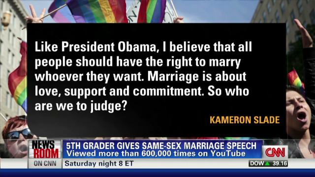 Boy, 10, talks same-sex marriage speech
