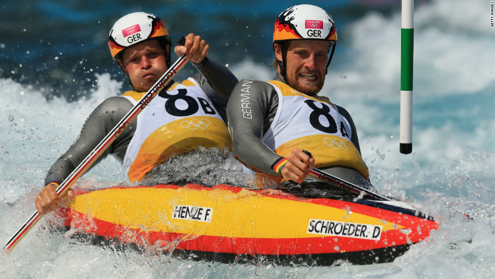 David Schroeder and Frank Henze of Germany compete in the men's canoe double heats Monday.