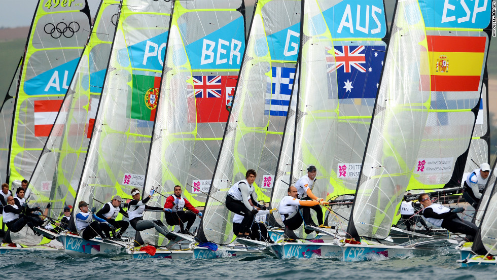 Competitors take off at the start of the race in the 49er sailing class competition in Weymouth on Monday.