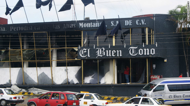 El Norte newspaper is the latest newspaper under attack in Mexico. Previously the El Buen Tono newspaper (pictured here) suffered from arsonists. Journalists have come under frequent attack in Mexico since the country declared open war on drug cartels.
