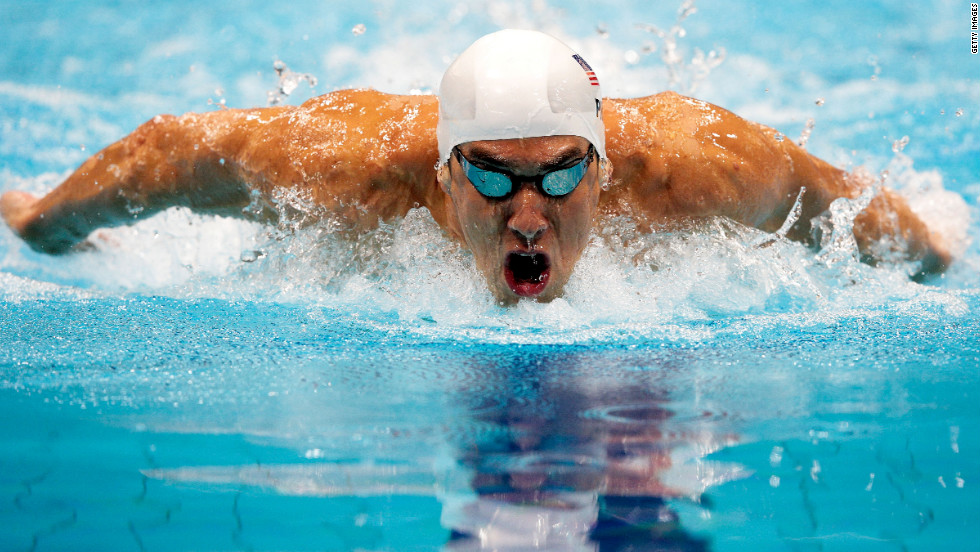 Michael Phelps of the United States competes in heat 5 of the men's 200-meter butterfly on Monday.