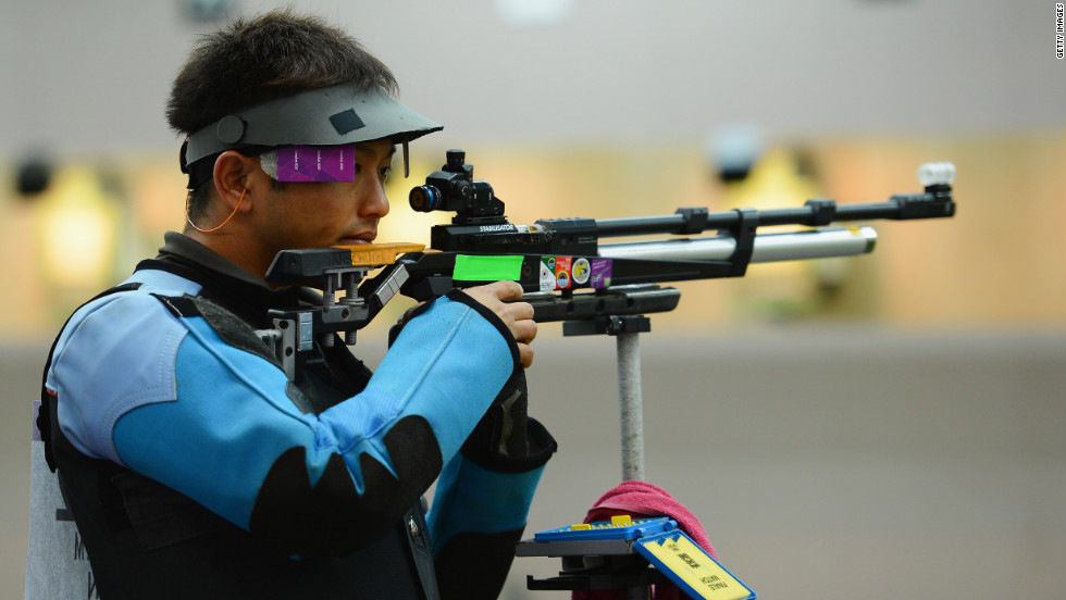 Midori Yajima of Japan competes in the men's 10-meter air rifle qualification on Day 3 of the London 2012 Olympic Games on Monday.