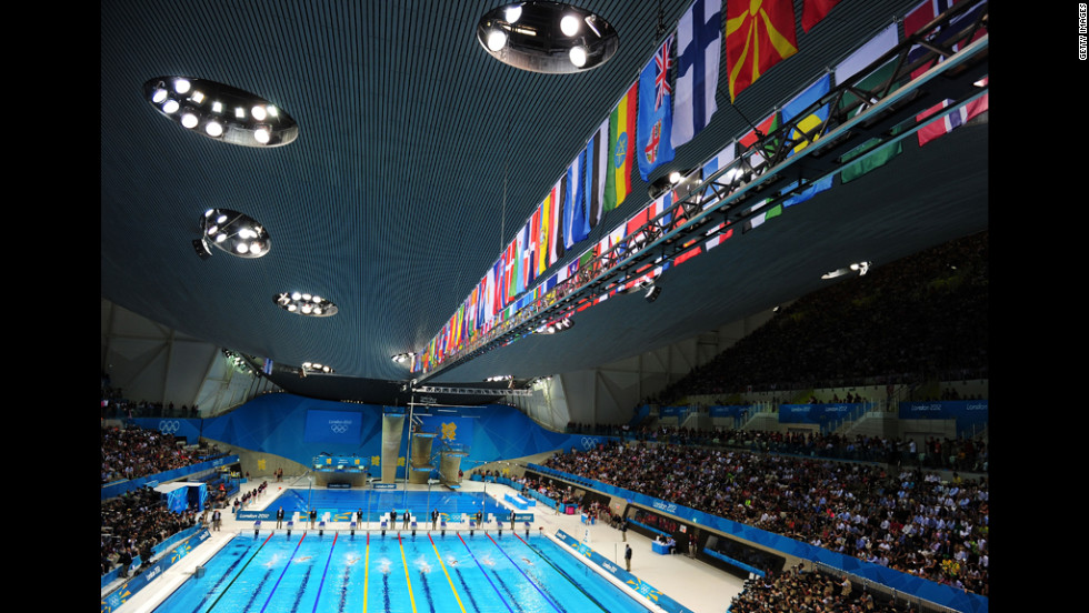 A general view of the Aquatics Centre on Sunday evening.