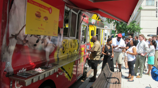 Customers line up at a Chick-fil-A food truck that was targeted by about two dozen protesters last week in Washington.