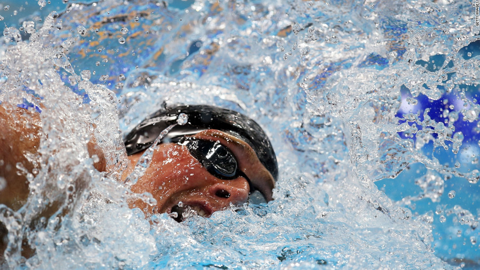 Ryan Lochte of the United States competes in the men's 20- meter freestyle final.