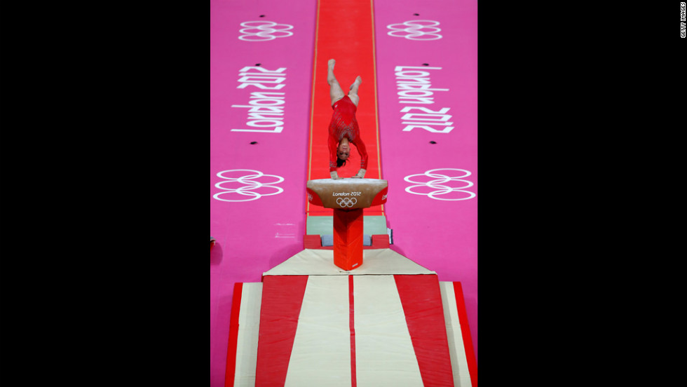 Jordyn Wieber of the United States competes on the vault in the gymnastics women's team final at North Greenwich Arena.
