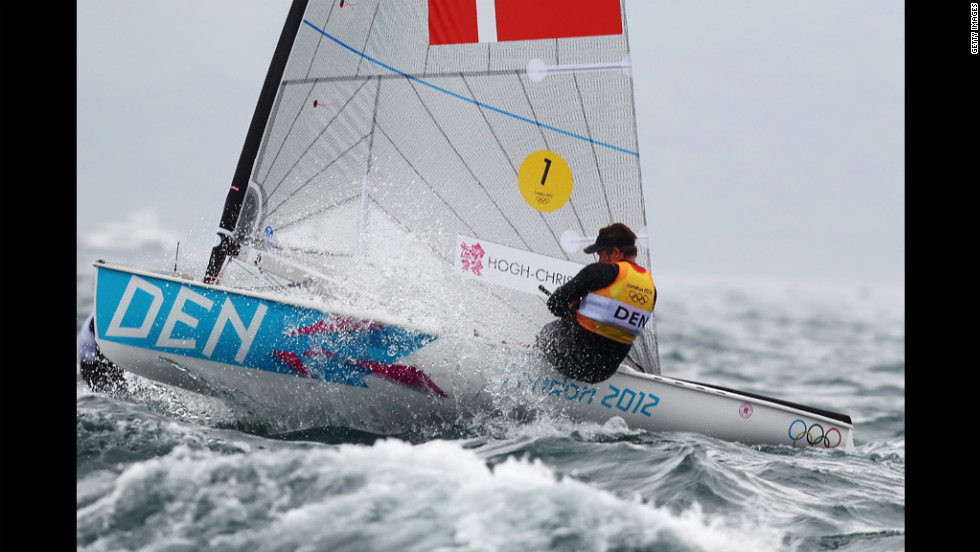 Jonas Hogh-Christensen of Denmark competes in the men's sailing Finn Race at Weymouth Harbor.