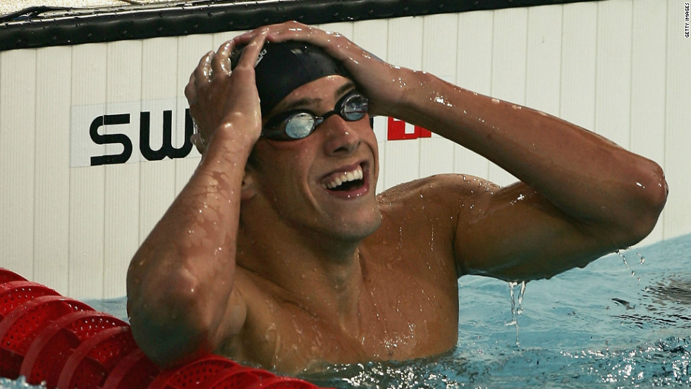 Phelps celebrates winning gold in the 400-meter medley in 2004. It was his first Olympic gold, and it came in a world-record time of 4:08.26.