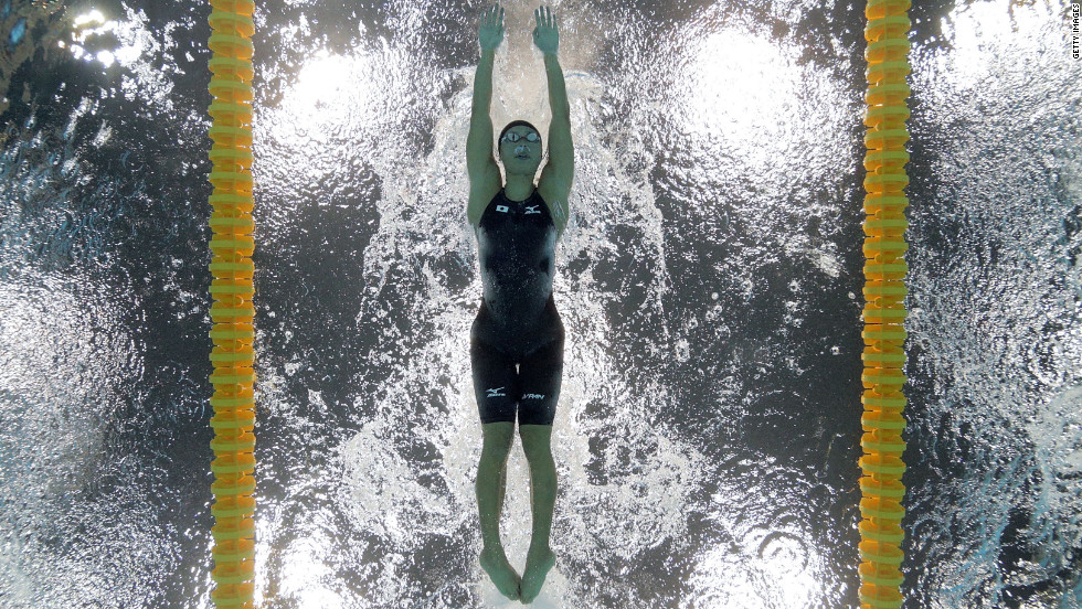 Natsumi Hoshi of Japan competes in the women's 200-meter butterfly heat on Tuesday.