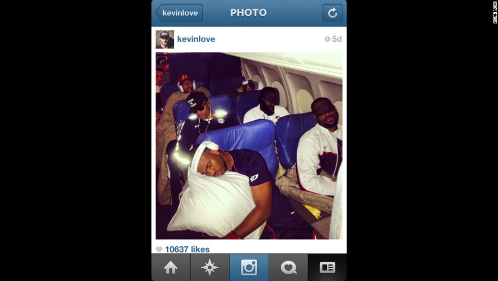 Kevin Love snapped this pic of his sleeping teammates on the team plane to London. That's Chris Paul hugging his pillow in the foreground, with LeBron James next to him. Behind them are Russell Westbrook, James Harden, Anthony Davis and even Coach K (Mike Krzyzewski).