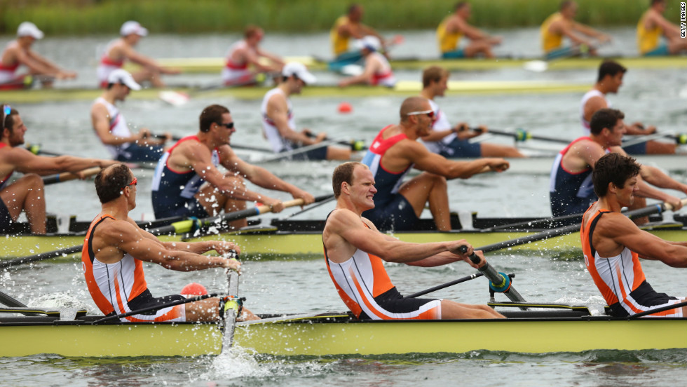 The Netherlands team competes in the men's eight final in Windsor, England.