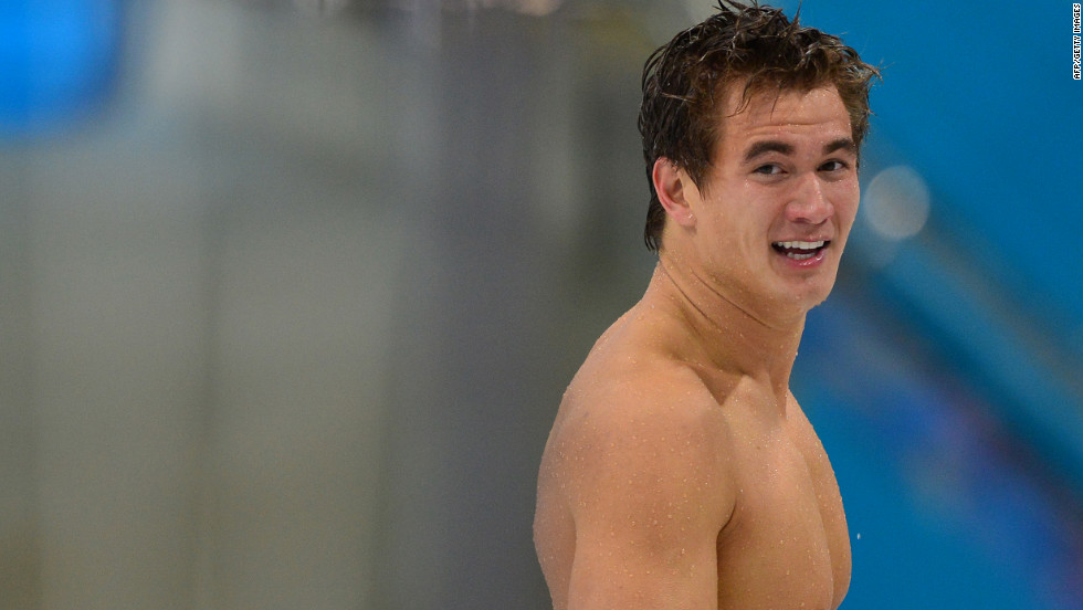 U.S. gold medalist Nathan Adrian celebrates after his win.